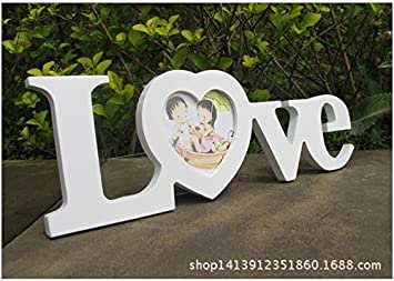 WINOMO LOVE Picture Frame Wooden Craft Cutout Monogram Photo Frame 3Inch (White)