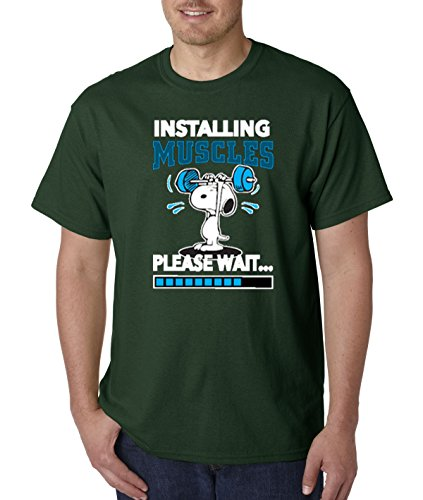 New Way 433 - Unisex T-Shirt Installing Muscles Please Wait Snoopy Peanuts Workout Training Gym XL Forest Green ()