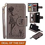 Amazon Prime Deal Clearance Sale-Galaxy S8 Wallet Phone Case, Welegant Embossed Girls Magnetic Flip Protective Cover with Detachable Wrist Strap, Card Slots and Mirror for Samsung Galaxy S8 (Grey) For Sale