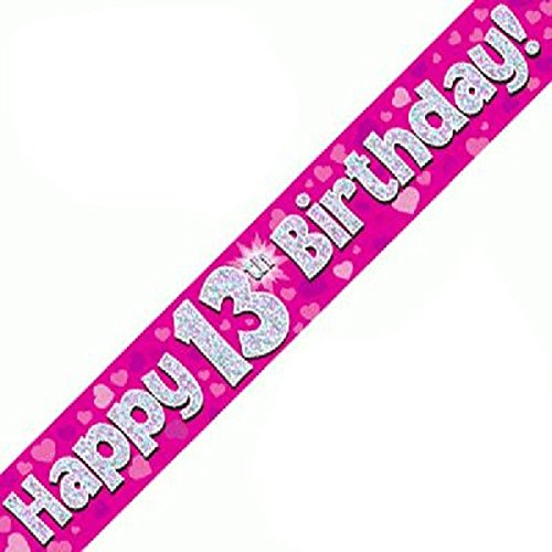 Blue OakTree 624740 Happy 13th Birthday Foil Holographic Banner 9 ft
