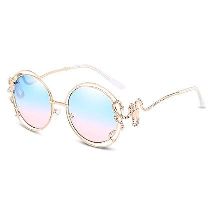 L-MEIQUN,Gafas de Sol Circulares Dobles del Diamante de Las ...