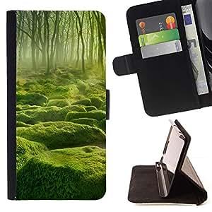 Momo Phone Case / Flip Funda de Cuero Case Cover - Misty verde Forrest;;;;;;;; - Samsung Galaxy S5 Mini, SM-G800