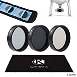 CamKix Filter Pack for DJI Phantom 4 and 3 - Include 2 CamKix Neutral Density Filters (ND4 and ND8), a CamKix Circular Polarizer filter (CPL) and a CamKix cleaning cloth - Filter Storage Bag Included