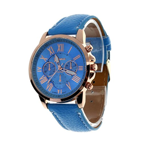 Winhurn Fashion Faux Leather Analog Quartz Women Wrist Watch with Roman Numerals (Blue)