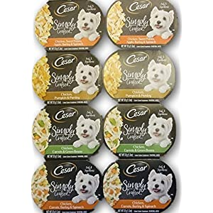 Cesar Simply Crafted Dog Food Variety Bundle - 4 Flavors, 2 of Each Flavor. 8 Total 1.3 oz Tubs 47