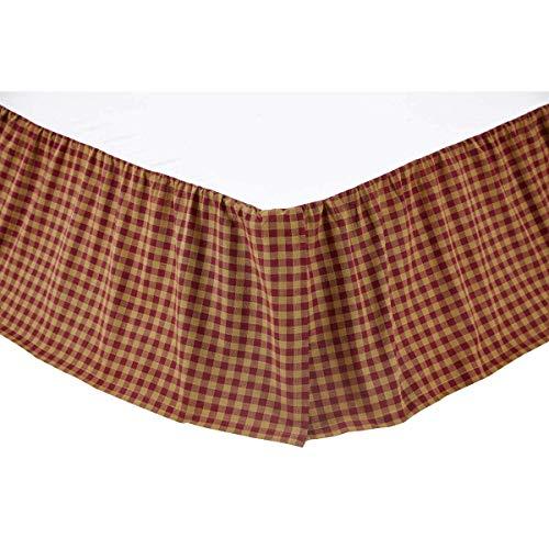 King Checks Dust Ruffle - :VHC Brands 9467 Burgundy Check King Bed Skirt 78x80x16 (Renewed)