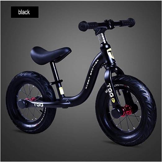 Kids Balance Bike, Clásico Y Ligero Sin Pedales Aprenda A Andar En Bicicleta Pre Con Manillar Ajustable Y Entrenamiento De Ciclismo En El Asiento Para Niños Pequeños, Bicicleta Para Caminar ,Black: Amazon.es: