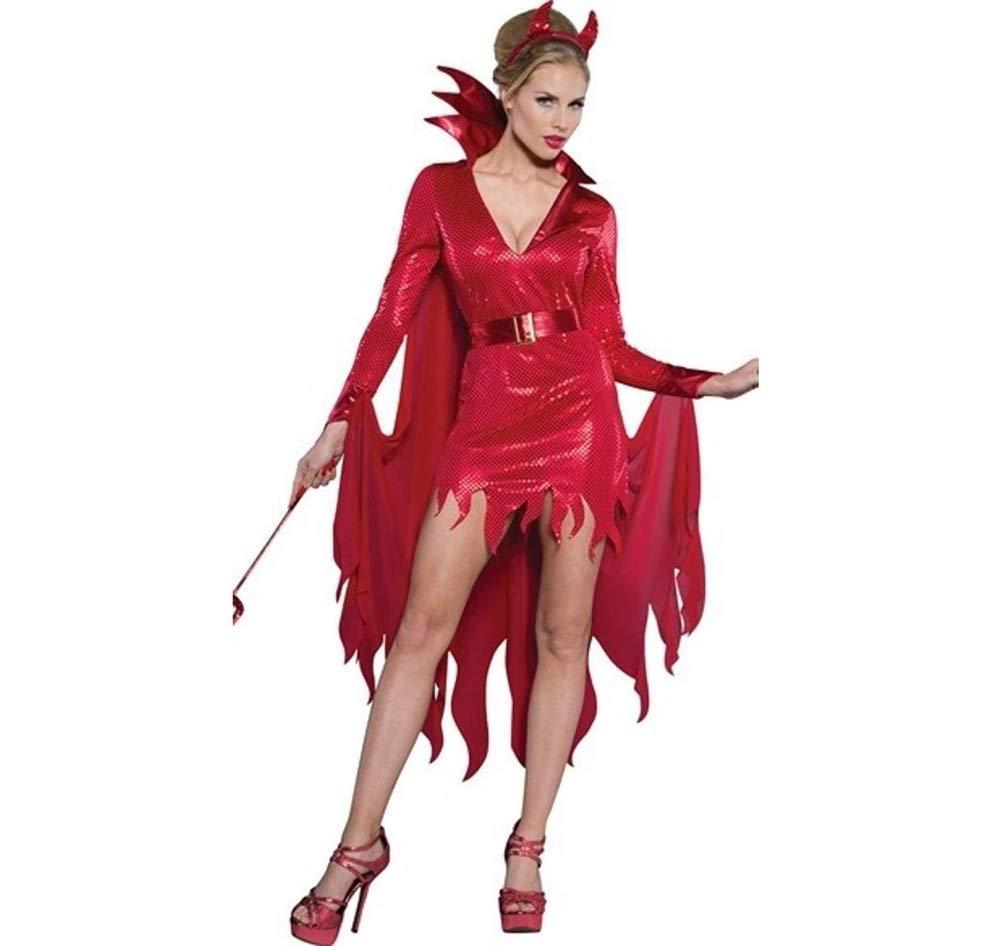 Shisky Cosplay kostüm Damen, Halloween Kostüm Demon Outfit ROT Witch dünnes Kleid