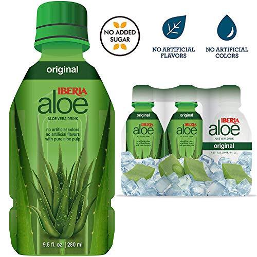 Iberia Aloe Vera Juice Drink, Original, 9.47 fl oz (Pack of 6), with Pure Aloe Pulp, Aloin-Free, No Artificial Flavors Preservatives or Colors, Gluten Free, Vegan, BPA ()