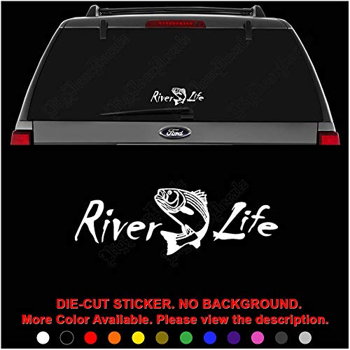 (River Life Trout Fishing Die Cut Vinyl Decal Sticker for Car Truck Motorcycle Vehicle Window Bumper Wall Decor Laptop Helmet Size- [20 inch] / [50 cm] Wide || Color- Gloss White)