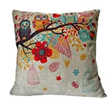 HOSL Cotton Linen Square Decorative Throw Pillow Case Cushion Cover Owls with Birdcage 18 X18 by HOSL