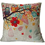 """HOSL® Blend Linen Square Decorative Throw Pillow Case Cushion Cover Owls with Birdcage 18 """"X18 """""""