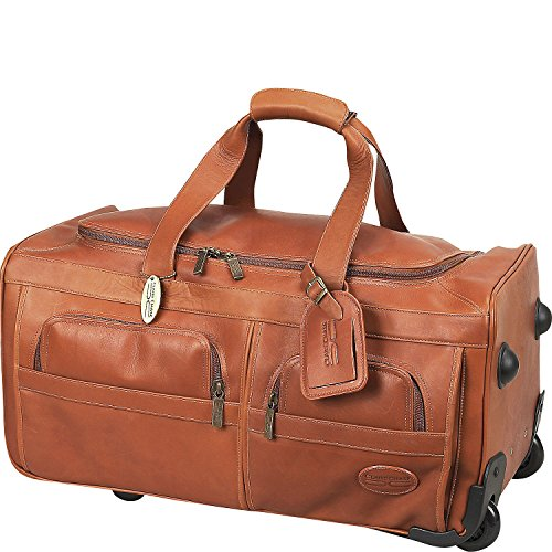 Claire Chase Leather Rolling Duffel Bag in Saddle ()