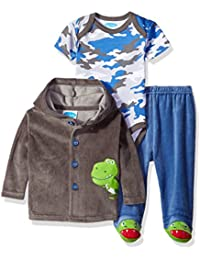 Baby Boys' 3 Piece Velour Jacket Set With Bodysuit and Pant