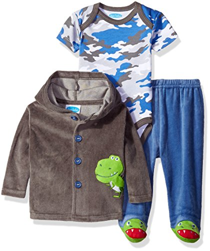 BON BEBE Boys' 3 Piece Velour Jacket Set with Bodysuit and Pant, Green Dino Gray, 0-3 Months