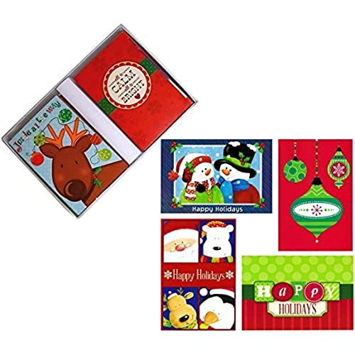 32 assorted boxed christmas cards with envelopesadorable santa claus snowman more in keepsake box