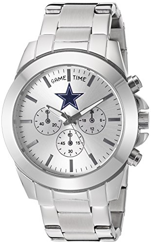 Game Time Women's 'Knock-Out' Quartz Stainless Steel Quartz Analog Watch, Color:Silver-Toned (Model: NFL-TBY-DAL)