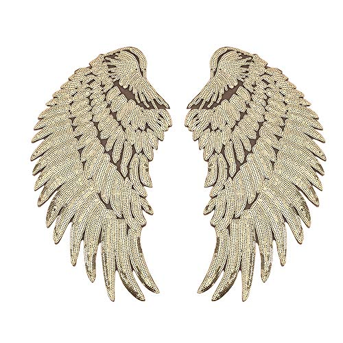 Artem 1 Pair Gold Sequins Angel Wings Sew On Iron On Patch DIY Embroidered Applique Bling Wings for Jackets Cloth Decoration Accessory Stickers Gifts 4 ()