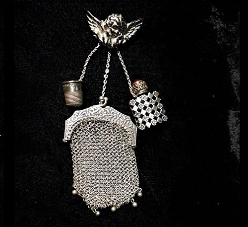 CHATELAINE CHERUB BROOCH with Sterling Miser Chatelain Purse, French Perfume, Chatelaine Sterling Thimble, Individually or all for $219.90 One of a (Hanging French Purse)