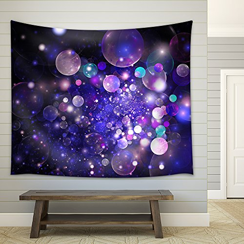 Abstract Glowing Purple and Blue Bubbles on Black Background Fractal Art 3d Rendering Fabric Wall Tapestry