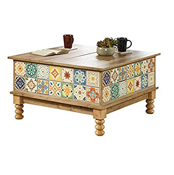 Lift Top Coffee Table Double Split   Vintage Country Tiles Tapered Legs    Hidden Storage Compartment