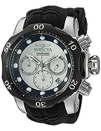 Invicta Men's 'Venom' Quartz Stainless Steel and Silicone Casual Watch, Black (Model: 22356)