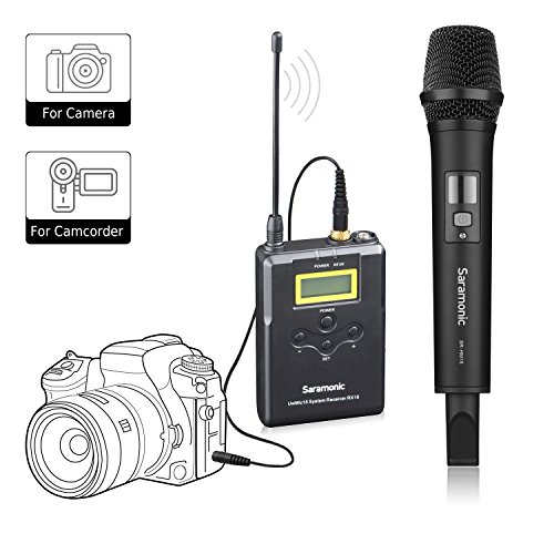 Wireless Handheld Microphone for Camera,Saramonic Uwmic15A UHF Interview Microphone System for Video Recording,Nikon,Canon, DSLR,DV Camcorder (3.5mm TRS Jack)