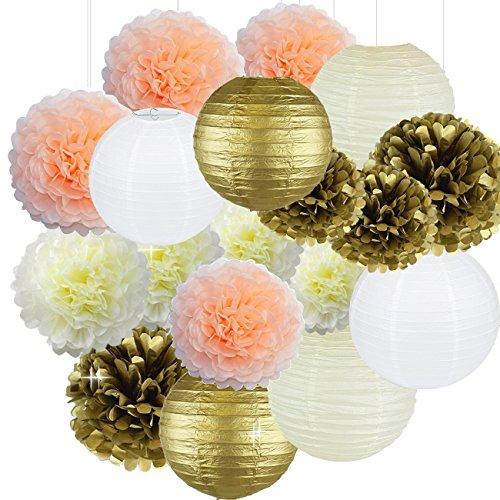 Cream Peach Gold White Tissue Paper Pom Poms Paper Flowers Paper Lanterns Tissue Paper Honeycomb Balls Birthday Party Decorations Bridal Shower Decorations Wedding Decorations Baby Shower Decorations