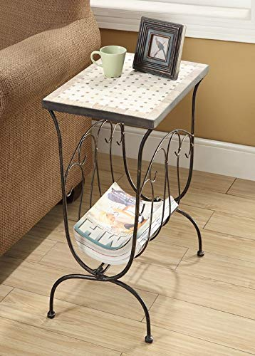 - Steel Base End Table with Magazine Rack - End Table with Travertine Top - Metal