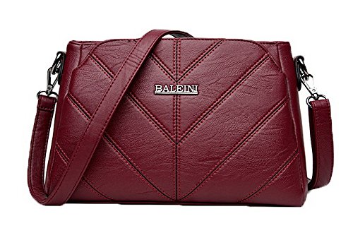AllhqFashion FBUBD180899 Zippers Pu Bags Clutch Casual Claret Shoulder Claret Women's Shopping Bag zrYzwq