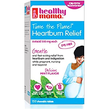 healthy mama Tame the Flame! Dye Free Heartburn Relief for Pregnancy, Nursing and Beyond. 150 Count