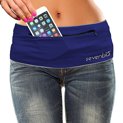 SevenBlu HIP - Fashion Money Belt / Extra Pocket / Running Belt - World's Best Stylish Travel Wallet or Mini Purse - with ZIPper - Fits iPhone 6 Plus - Your Smartphone Pocket (Navy L)
