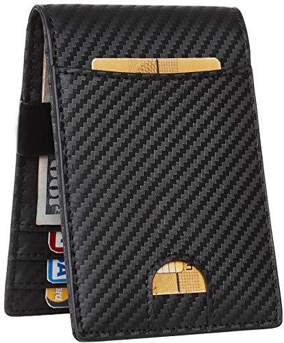 Holder Card Monkey (JM Mens Bifold Wallet Money Clip RFID Blocking Travel Wallet Credit Card Holder (carbon fiber black w/metal clip size A))