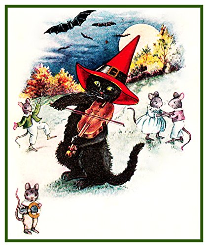Fiddling Black Cat Halloween Counted Cross Stitch (Office Related Halloween Costumes)