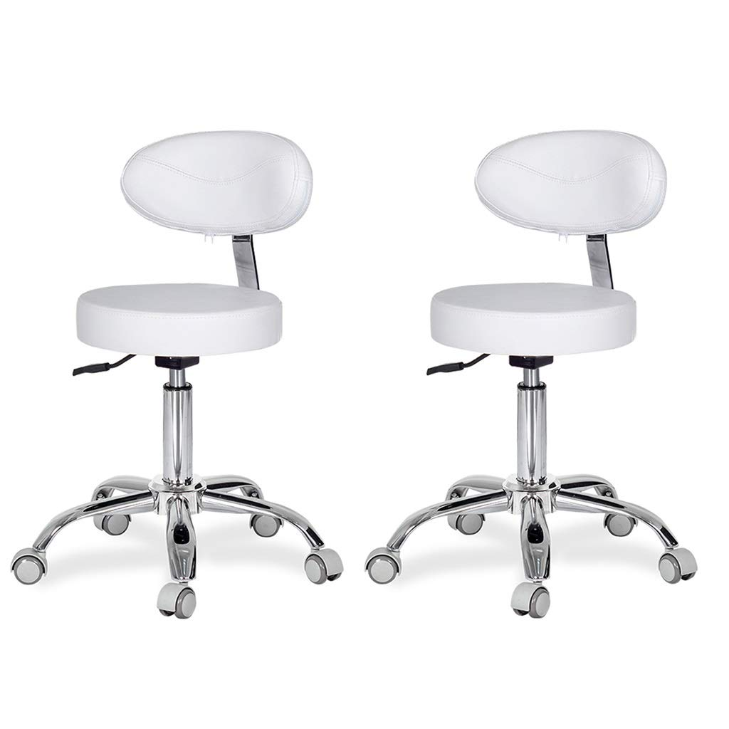 White×2 Bar Stool,Bar Chair Computer Chair, Work Stool, Task Chair, High Back Medical Care 5 Rounds Laboratory Office Clinic redating Stool Lift 45-58cm 2 colors Counter Chair (color   Black)