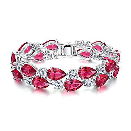 EVER FAITH Gorgeous Zircon Elegant Dual Layer Waterdrop Bridal Tennis Bracelet Fushcia Silver-Tone