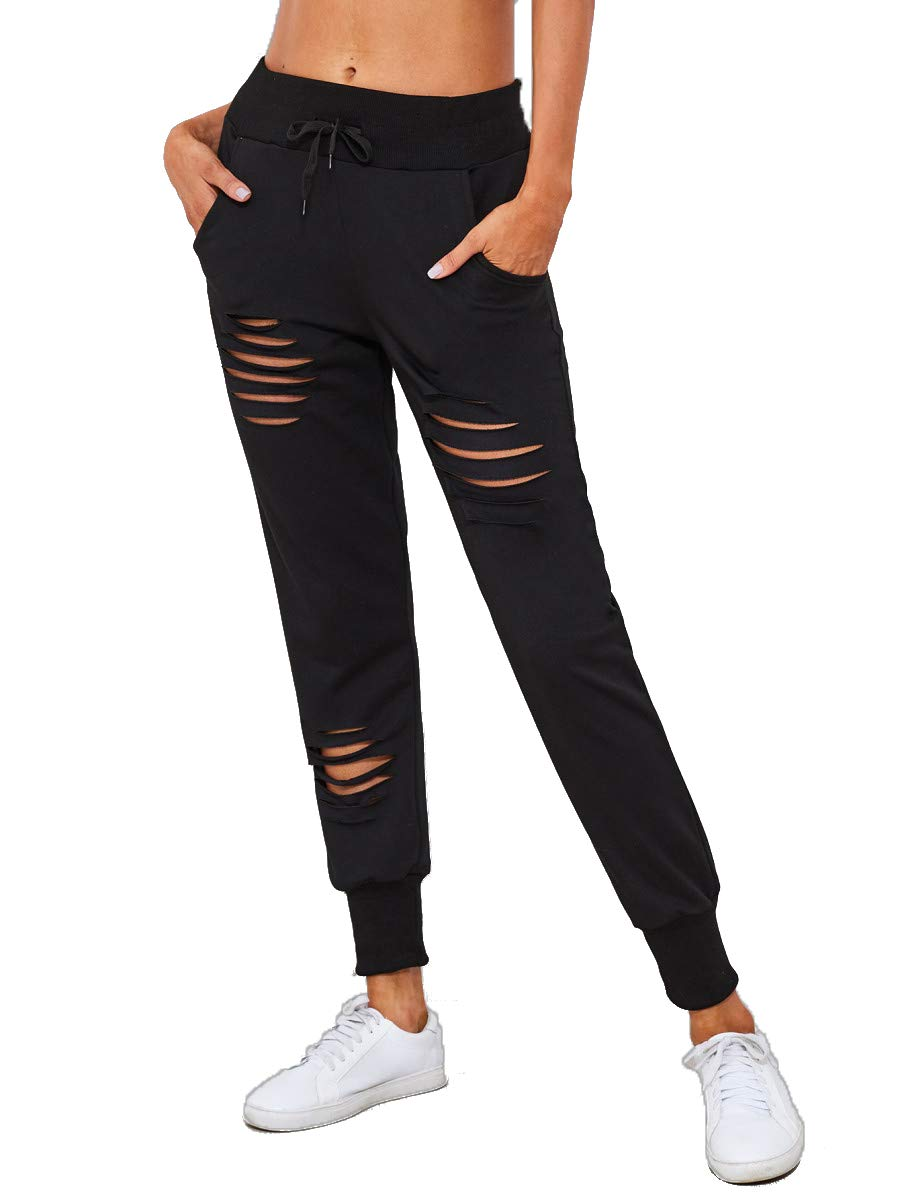 SweatyRocks Women's Ripped Pants Drawstring Yoga Workout Sweatpants Black S