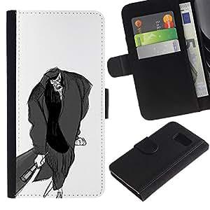 KLONGSHOP / Tirón de la caja Cartera de cuero con ranuras para tarjetas - Man Bat Pencil Drawing Art Zombie Cartoon - Samsung Galaxy S6 SM-G920