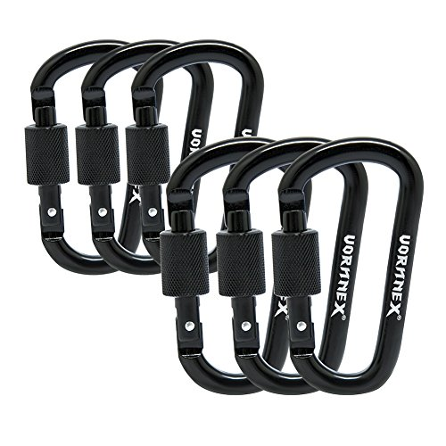 VORNNEX 6PCS Aluminum D Ring Locking Carabiner D Shape Super Light wiregate Carabiner keychain Clip for - Carabiner Logo