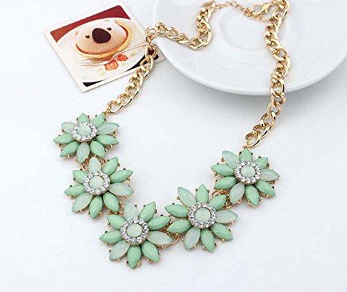 Mokingtop® 1PC Fashion Rhinestone Resin Flower Chunky Statement Bib Pendant Necklace (Green)