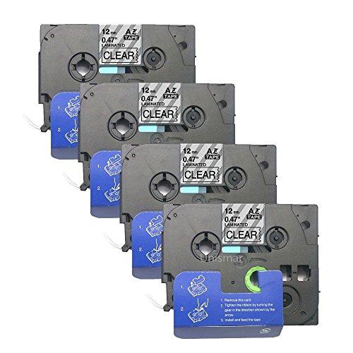 "Unismar 4 Pack Compatible TZe-131 TZe131 TZ-131 TZ131 Laminated Tape Black on Clear 12mm (1/2"") Width 8m (26.2ft) Length for Brother P-Touch Label Makers & Printers (US-TZe131 4PK) ..."