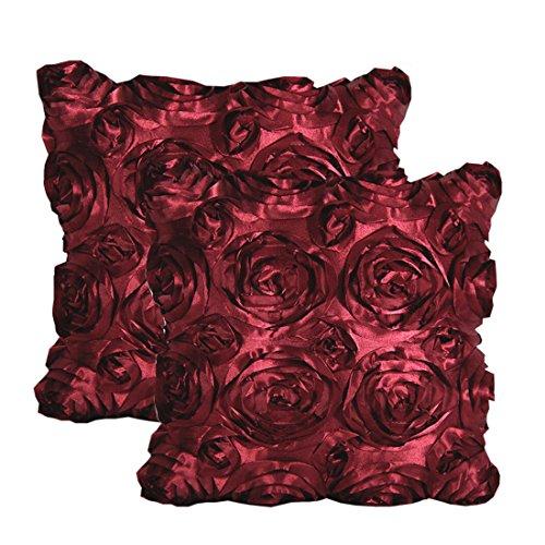 E'Plaza 2pcs New Burgundy 3D Raised Ribbon Roses Cushion Covers Throw Pillow Cases 16X16