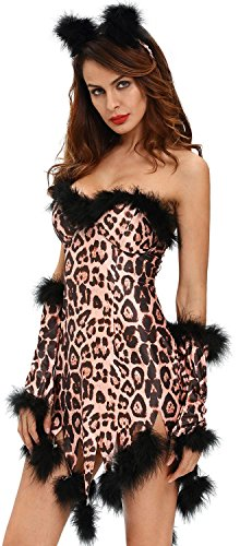 Costume Ideas Jungle Dance (IF FEEL Womens Sexy Halloween Masquerade Cosplay Animal Costume (L,)