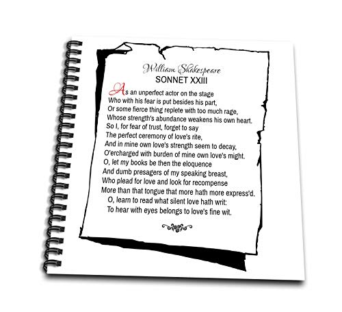 3dRose Alexis Design - Poetry Shakespeare Sonnets - Sonnet 23. As an unperfect Actor on The Stage - Drawing Book 8 x 8 inch (db_305668_1)