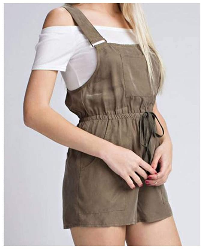 07be71b1d78 Honey Punch Honey Belle Short Overall Utility Romper with Waist Tie-Small  Olive