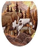 Toilet Tattoos TT-1041-O Wild Horses Design Toilet Seat Applique, Elongated