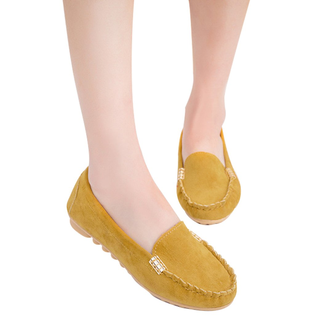 sunshining1 Casual Faux Suede Upper Loafers for Adult Woman,Cut Low Heel Driving Slip On Shoes Office Comfort Flats