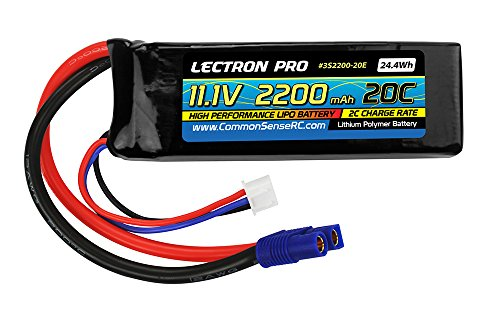 Common Sense RC Lectron Pro 11.1V 2200mAh 20C Lipo Battery with EC3 Connector for Blade 400 Helis & Parkzone Strykers -