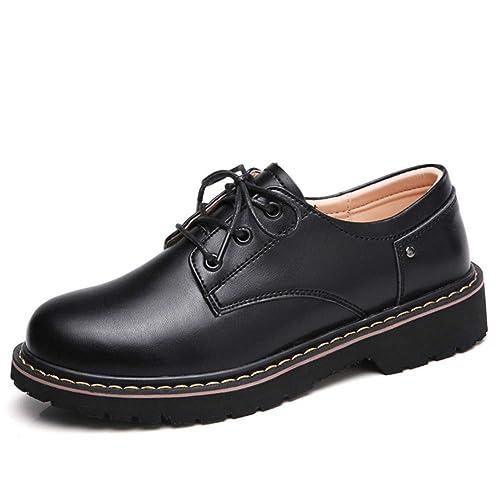Vestido De Mujer Pisos Zapatos Oxford Invierno con Cordones Trabajo Cuero Dividido Punta Redonda SeñOras Creepers Mocasines: Amazon.es: Zapatos y ...