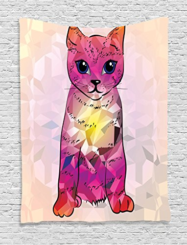 Cat Lover Decor Tapestry Wall Hanging by , Geometrc